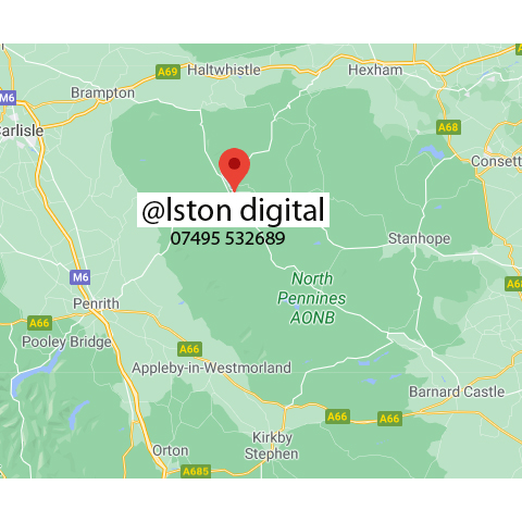 A location map for Alston Digital, Alston Cumbria. Showing our centrality in our customer area reaching Penrith, Carlisle, Brampton, Haltwhistle, Hexham, Consett, Barnard Castle Orton and everywhere in between.